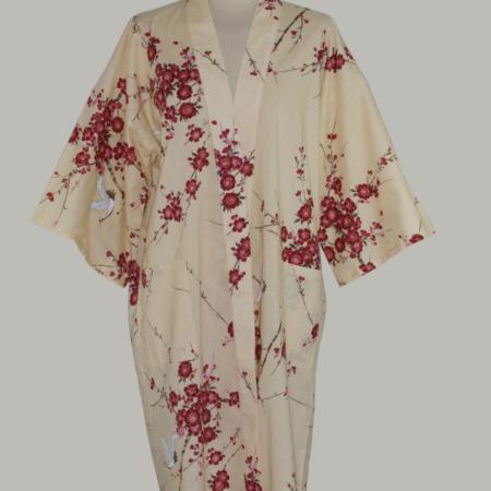 kimono Crane with Cherry Blossom, 3/4 lang, beige, udført i 100% bomuld