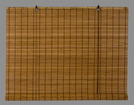 bambus rullegardin mørk med brede pinde