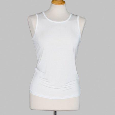 undertrøje (top med bred strop) i 100% silke, let og behagelig, føres i sort og hvid