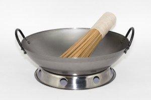 wok gryde til gas rundbundet med 2 jernører