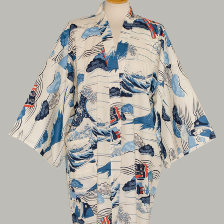Denne kimono Hokusai Wave, kort, udført i 100% bomuld