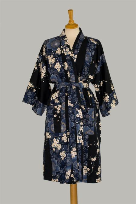 kimono Cherry Blossom, 3/4 lang, marine, udført i 100% bomuld