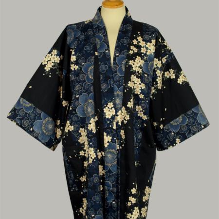 kimono Cherry Blossom, kort, marine, udført i 100% bomuld