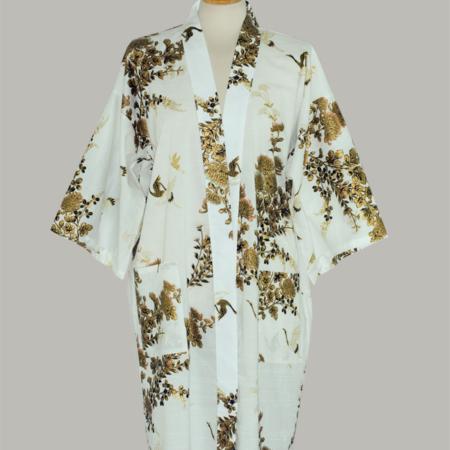 Kimono Crane with gold Chrysanthemum, 3/4 lang, hvid i 100% bomud