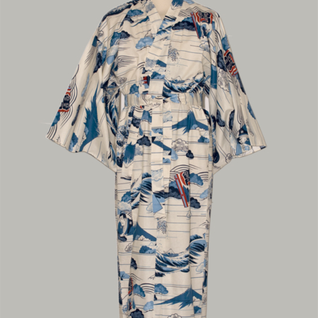 Denne kimono Hokusai Wave, lang, udført i 100% bomuld