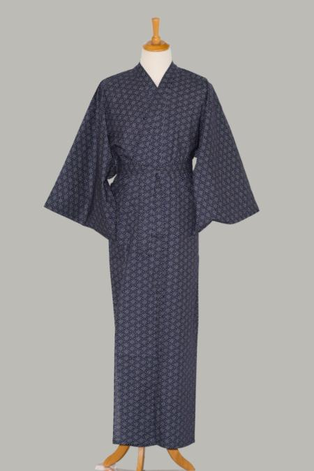 kimono Asanoha, lang, blå, udført 100% bomuld