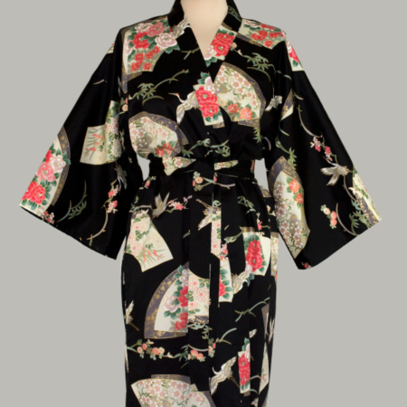 kimono Crane Senmen-Ni-Tsuru, 3/4 lang, sort, udført i 100% bomuldssatin