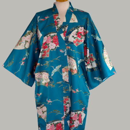 turkis kimono Crane Senmen-Ni-Tsuru, 3/4 lang, udført i 100% bomuldssatin