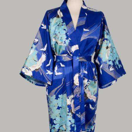 kimono Crane with Flowers, kort, blå, udført i 100% bomuldssatin