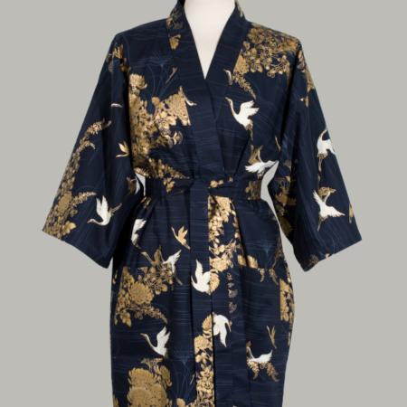 kimono Crane with gold Chrysanthemum, kort, marine, udført i 100% bomuld