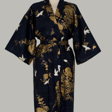 kimono i bomuld mørkblå med gyldne chrysanthemum 3/4 lang
