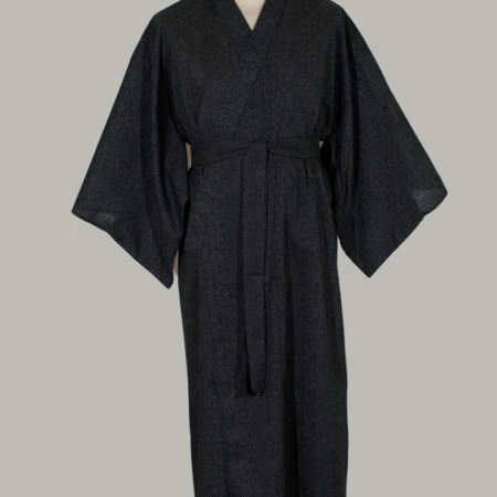 kimono chidori, lang, sort udført i 100% bomuld