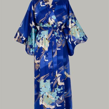 kimono Crane with Flowers lang i blå bomuldssatin