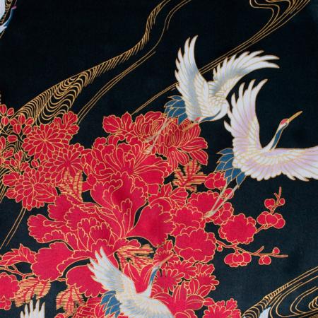 kimono stof sort satin crane with flowers