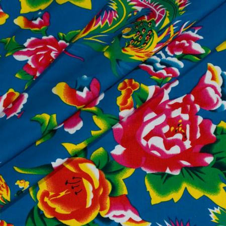 kinesisk pæon stof 100% bomuld i farven blå