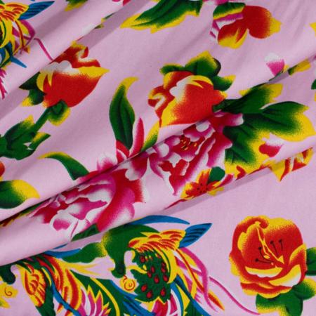 kinesisk pæon stof 100% bomuld i farven lyserød