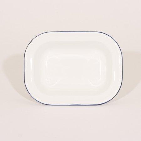 emalje fad til gratin eller pie i farven hvid med blå kant og str 20 x 15 cm