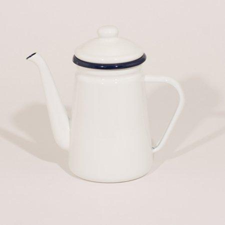 emalje kaffe og tekande, i farven hvid med blå kant, højde 20 cm og rummer 1,0 liter