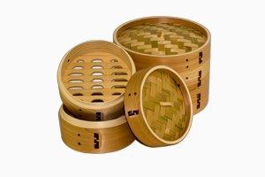 Dampkoger i bambus eller cedertræ