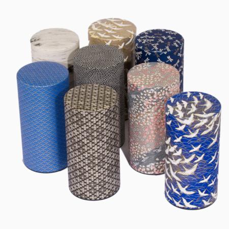 japanske yuzen tedåser, håndlavede med traditionelle designs i fineste washi papir